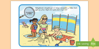 Taflen Weithgaredd Chwilio am Rifau yn Defnyddio Chwyddwydr - Yr Haf, summer, colouring sheets, rhifau, traeth, beach, display lettering, posteri, ysgrifennu, sum