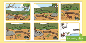 The Cicada and the Ant Sequence Flashcards - traditional tales, thai, folktale, fable, moral, message, story, order