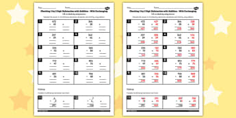 Y3 Inverse Check 3 Digit 2 Subtraction Addition Exchanging Sheet