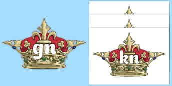 Silent Letters on Crowns - Silent Letters, silent letter, letter blend, consonant, consonants, digraph, trigraph, A-Z letters, literacy, alphabet, letters, alternative sounds
