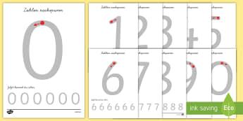 Arbeitsblatt Erstes Schreiben: Buchstaben und Zahlen nachspuren - Erstes Schreiben, schreiben lernen, Zahlen schreiben, Zahlen lernen, Zahlen nachspuren, Zahlen, Numm
