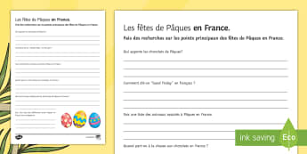 Easter Activity Sheet French - KS3, French, Easter, Pâques, fact, recherche, research.