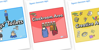 Safari Themed Editable Square Classroom Area Signs (Colourful) - Themed Classroom Area Signs, KS1, Banner, Foundation Stage Area Signs, Classroom labels, Area labels, Area Signs, Classroom Areas, Poster, Display, Areas