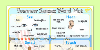 Summer Senses Word Mat - summer senses, word mat, word, mat