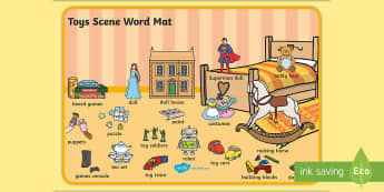 Toys Scene Word Mat - toys, word mat, visual aid, keywords