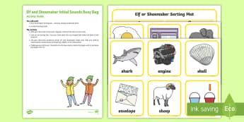 Initial Sounds Elf and Shoemaker e and sh Busy Bag Resource Pack for Parents - The Elves and the Shoemaker, traditional tales, Christmas, elf, letter sounds, initial sounds, sh so