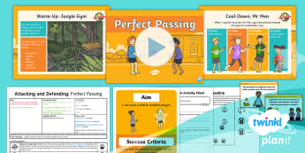 PlanIt - PE Year 1 - Attacking and Defending Lesson 4: Perfect Passing Lesson Pack - Attacking, defending, pass, ball, player, team, ks2, y1, year, 1, one, planning, plans, physical, ed