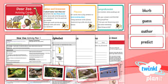 Y1 Dear Zoo: Activity Plan 1 PlanIt Guided Reading Pack - Dear Zoo, animals, fiction, carousel, Rod Campbell, whole class guided reading, blurb, predict, Year