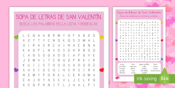 Sopa de letras de San Valentín - San Valentín, sopa de letras, palabras, buscar, vocabulario, amor,Spanish