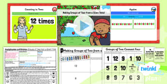 PlanIt Y1 Multiplication and Division Lesson Pack Multiplying and Dividing by Two (2) - division by grouping, grouping, equal sharing, groups of two, dividing by two, two times table, planning