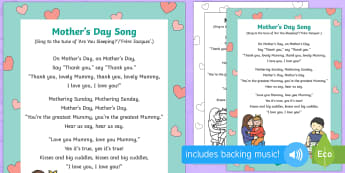On Mother's Day Song - EYFS, Early Years, Key Stage 1, KS1, Mother's Day, Mothering Sunday, Mother, Mummy, Mum, parent, ca