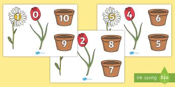 Descompunerea lui 10 pe ghivece cu flori Decupabile - descompuneri, adunări, scăderi, exerciții, numerație, ,Romanian