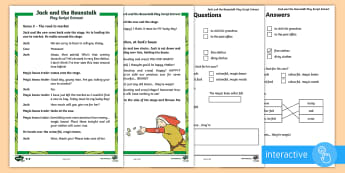 KS1 Jack and the Beanstalk Play Script Extracts Differentiated Go Respond Activity Sheets - SEO English Resources (please check as normal) interactive, computer, tablet, computing, digital, Go