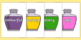 Wow Words on Potions - Wow words, adjectives, VCOP, describing, Wow, display, poster, wow display, tasty, scary, ugly, beautiful, colourful sharp, bouncy