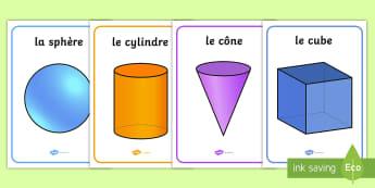 Posters d'affichage : les formes en 3D - formes en 3D, posters, affichage, géométrie, formes, mathématiques, 3D shape posters, shapes, geo