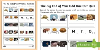 KS1 The Big End of the Year Odd One Out Activity Sheet - game, quiz, identify, reasoning, year 1, year 2, worksheet