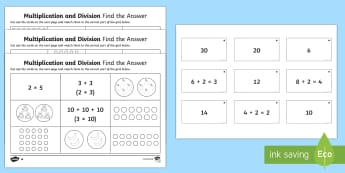 Multiplication and Division Find the Answer Activity Sheets - Year 1, Maths Mastery,multiplication, multiply, times, lots of, product, divide, division, share, eq