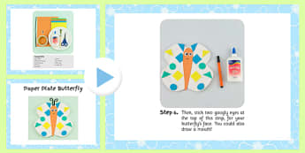 Paper Plate Butterfly Craft Instructions PowerPoint - craft, powerpoint, paper