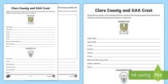 Clare County and GAA Crest Activity Sheet - Worksheet, GAA Football All-Ireland Senior Championship, GAA Hurling All-Ireland Senior Championship