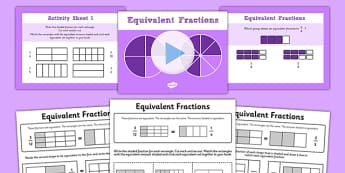 Year 3-Equivalent Fractions PowerPoint with Worksheets - fraction
