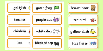 Word Cards to Support Teaching on Brown Bear, Brown Bear - Brown Bear, Brown Bear, Bill Martin,  red bird, yellow duck, blue horse, green frog, purple cat, colours, animals, animal names, story, story book, story book resources, story sequencing, sto