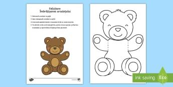 Ursulețul cu îmbrățișări pentru mama și tata Felicitare - ziua tatălui, tata, citire, lectură, activități, sărbători, zile speciale, ziua familiei, fami