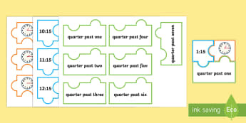 Quarter Past and Quarter to Times Jigsaw Puzzle Activity - Measurement, measures, telling the time, o'clock times, to the hour, o'clock, clock, time
