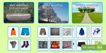 Photo Weather Clothes Sorting Activity English/Polish - Photo Weather Clothes Sorting Activity - photo, weather, clothes, sorting, activity,waether, WHEATHE