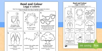 Summer Read and Colour Activity Sheet - Italian/English - Summer Read and Colour Worksheet - seasons, weather, reading, waether, WHEATHER, seaons, wetaher, we