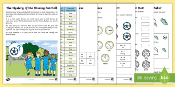 KS1 The Mystery of the Missing Football Maths Game - problem solving, calculations, word problems, multiplication, division