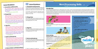 PlanIt - Computing Year 3 - Word Processing Skills Planning Overview CfE
