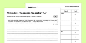 Mes études Traduction Foundation Tier - french, Translation, Higher, Traduction, Studies, School