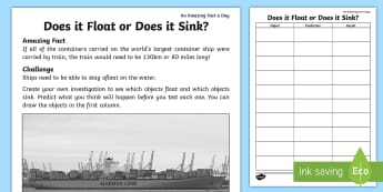 Does It Float or Does It Sink? Activity Sheet - Amazing Fact Of The Day, activity sheets, starter, morning activity, March, float, sink, floating an