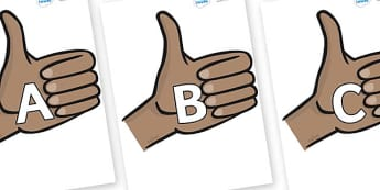 A-Z Alphabet on Thumbs Up - A-Z, A4, display, Alphabet frieze, Display letters, Letter posters, A-Z letters, Alphabet flashcards