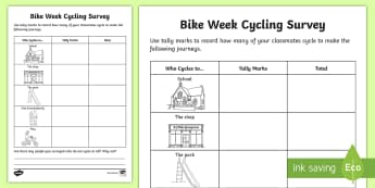 Cycling Survey Activity Sheet - CfE Bike Week (10th-18th June), cycling, survey, biking, riding, bikes, worksheet, survey, MNU 1-20a