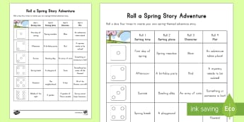 Spring K 2  Roll a Spring Adventure Story Activity Sheet - Spring, First day of Spring writing roll a story, writing, setting, time, place, characters, events,