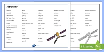 Edexcel Physics Astronomy Word Mat - Word Mat, edexcel, gcse, physics, astronomy, space, star, life cycle of star, stars, big bang, big b