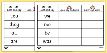 Tricky Words on Writing Practice Worksheets - trick, worksheet