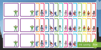 Superhero Themed Square Peg Labels