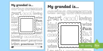 Father's Day - Grandad Describing Words Drawing and Colouring Colouring Page - dad, daddy, pop, gamps, grandfather, gramps, pops