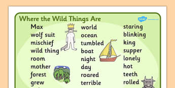 Word Mat (Text) to Support Teaching on Where the Wild Things Are - Where the Wild Things Are, Maurice Sendak, Wild Things, resources, Max, wild rumpus, boat, wolf suit, dream, fantasy, story, story book, story book resources, story sequencing, story