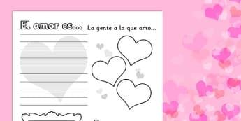 Ficha de actividad de San Valentín - San Valentín, amor
