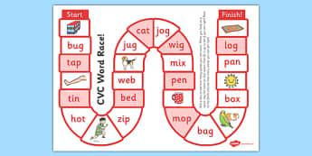 Self-Checking CVC Words Board Game - board game, cvc, self-check