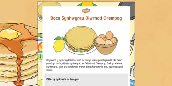 Diwrnod Crempog Bocs Synhwyrau - Pancake Day, Diwrnod crempog, blawd, flour, sugar, lemon, oren, sugar, jug, jwg, wyau, eggs, utensil