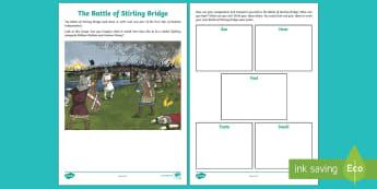 Battle of Stirling Bridge Senses Activity Sheet - CfE Literacy, writing, topic, social studies, senses, imagination, Stirling, William Wallace, Andrew