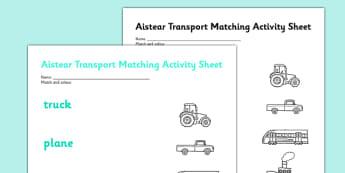 Aistear Transport Matching Activity Sheet - roi, irish, republic of ireland, aistear, transport, worksheet