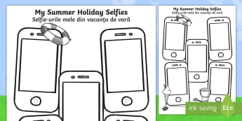 Summer Holiday Selfies Writing Template English/Romanian - holiday, summer, term, break, holidays, selfie, selfy, photo, portrait, picture, eal