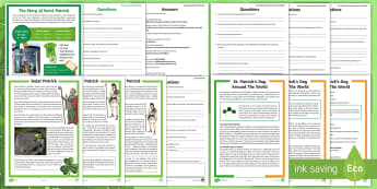 St. Patrick's Day Reading Resource Pack - st patrick's day, st patricks day, saint patrick's day reading, st patrick's day comprehensions