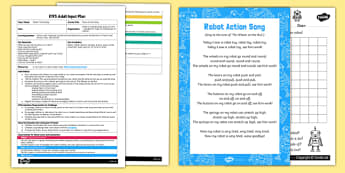 EYFS Robot Action Song Adult Input Plan and Resource Pack - EYFS, Early Years planning, adult led, rhyme, song, robots, machines, space.