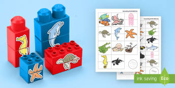 Under the Sea Matching Connecting Bricks Game - EYFS, Early Years, KS1, Connecting Bricks Resources, duplo, lego, plastic bricks, building bricks, s